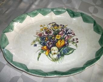 "Reduced Huge 18"" Serving Platter Turkey plate  Italian  Stoneware   Farmhouse Cottage Chic decor"