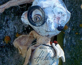 Outsider Art Doll Quirky Hanging Doll Handmade OOAK