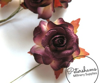 6 Small Multi-tone Paper Roses for Millinery, Headress & Tiara Making - Plum