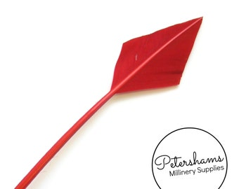 Arrowhead Turkey Quill Feather for Millinery, Hats & Fascinators - Red