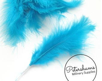6 Stems of Wired Fluffy Marabou Feathers for Fascinators & Wedding Bouquets (18 feathers) - Turquoise Blue