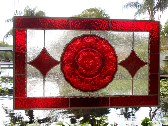 Princess House Fantasia Ruby Red Plate Stained Glass Window Panel