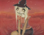 Witch girl art print red big eye lowbrow pop surreal-zuri