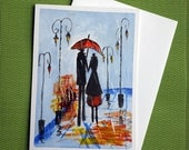 In Rain I - Hand Painted Abstract Greeting Card