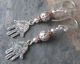 Hamsa Earrings - Silver & Copper Bohemian Style Earrings - Fatima Earrings