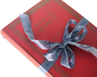 Sense and Sensibility by Jane Austen, Red Book Decor, Shabby Chic Decor, Antique Jane Austen Book,  RARE Edition, 1939