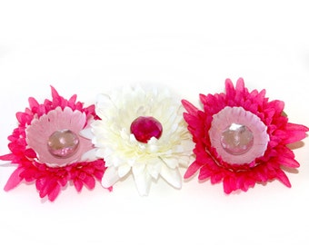 3 Daisy Hair Clips in Pink and White - EMBELLISHED with Pink Crystals