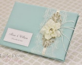 Vintage Inspired Crystal Feathers Aqua Blue Wedding Guest Book Custom Made in your Colors