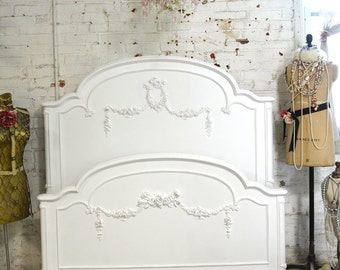 French Bed Painted Cottage Shabby Chic Romantic Twin / Full / Double Bed SSBD16