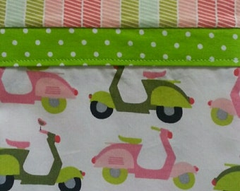 Pink and Green Scooters - Pillow Case Standard - Handmade Single or Pair available