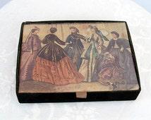 Hanes stocking box with Godey's Lady's Book illustration trinket box lingerie box