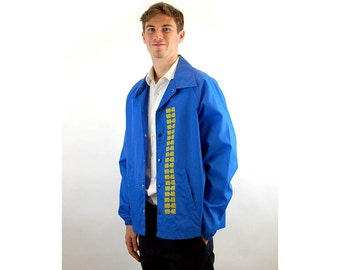 WD-40 jacket, WD-40 collectible, 1970s WD-40 promo jacket, vintage oil promotional, blue yellow, wind breaker, Size L