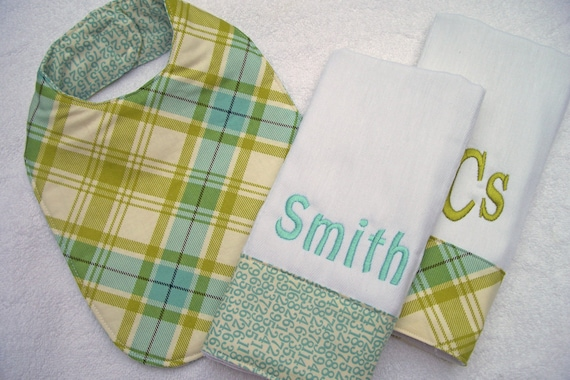The 3-piece Monogrammed Baby Gift Set - Boy or Girl Fabrics Available