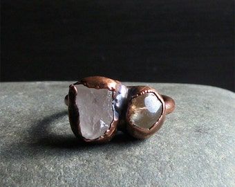 Morganite Ring Dual Stone Copper Ring Gemstone Ring Raw Crystal Ring Beryl Ring Size 8 Rough Stone Jewelry