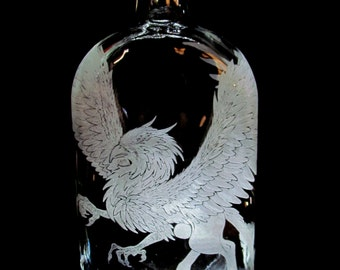 Griffon Just Wants a Smidge Hand Etched Recycled Whiskey Bottle