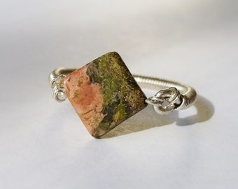 Unakite and Sterling Silver Wire Woven Ring- Size 6.5