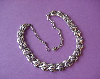 Vintage CORO signed Choker Necklace Smooth & Textured Link Chain