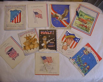 Vintage World War II Lot of 11 Patriotic Military Army Soldier Bomber Greeting Cards Conscription WW2