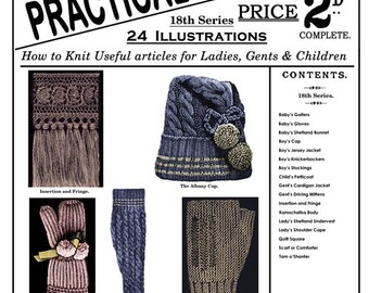 Weldon's 2D #72 c.1890 - Practical Knitter, Hats, Mittens, Socks, Sweaters and Quilt Squares