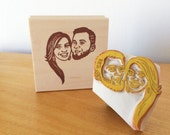 Portrait Stamp/ Wedding invitation stamp/ Anniversary gift/ Valentine's day gift/ Christmas gift/ Any texts on rubber stamp for FREE