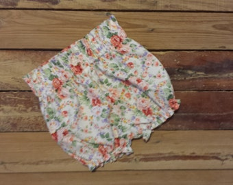 High Waisted Shorts -Baby Toddler Girls Bloomers Shorties - Summer, Birthday Pics, Beach, Birthday Gift- Vintage Floral Lace - Top to Match