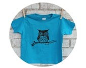Kid's Woodland Owl Graphic Tee Shirt, Hand Screenprinted, Short Sleeved Cotton Crewneck Tshirt, Bright Turquoise Blue Nature Inspired Animal