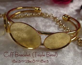 18x13~25x18~18x13 - Gold Cuff Bracelet(Triple Bezel) - 1 pc : sku 12.03.14.4 - AA22