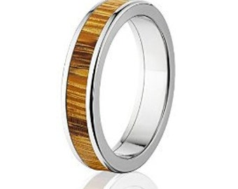 New Marble Wood Inaly Rings, Exotic Hard Wood in Titanium Wedding Band w/ Comfort Fit: 5F_Marble Wood