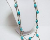 """Turquoise Necklace/Long Turquoise Necklace/Blue Turquoise Long Necklace/Natural Stones Necklace/Natural Stone Jewelry/Turquoise Jewelry/ 46"""""""