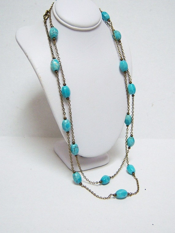 Turquoise Necklace/Long Turquoise Necklace/Blue Turquoise Long Necklace/Natural Stones Necklace/Natural Stone Jewelry/Turquoise Jewelry/ 46""
