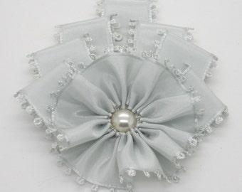 Art Deco Celadon Picot Edge Millinery Cocarde Applique