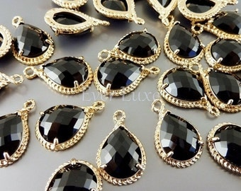 2 Black glass stone pendants with gold rope rim / glass beads charms for jewelry making / supplies 5054G-BL (bright gold, black, 2 pieces)