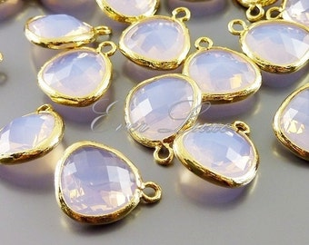 2 violet opal glass charms for jewelry making / glass beads / supplies for earrings necklaces 5031G-VIO (bright gold, violet opal, 2 pieces)