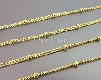 Best selling / 1 meter Delicate satellite chains with beads, unique ball chains, jewelry making supplies B053-BG