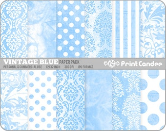 Vintage Blue Paper Pack (12 Sheets) - Personal and Commercial Use
