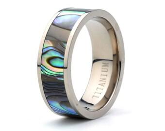 Titanium Ring Pipe Cut with Rainbow Rippled Abalone inlay 8m Titanium Wedding Band Mens Women's Anniversary rings Custom Titanium Bands