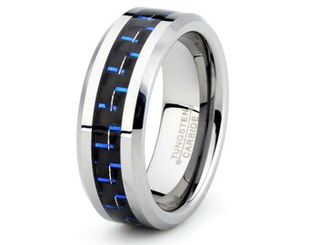 Mens Polished Tungsten Carbide Wedding Band 8mm Blue Carbon Fiber inlay Beveled edge his hers Anniversary ring custom laser  engraving