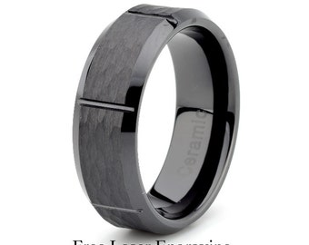 ceramic wedding ringmens ceramic wedding bandgroovedblack ceramic polished beveled edge - Ceramic Wedding Rings