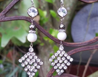 Upcycled Vintage Rhinestone Mother of Pearl Assemblage Earrings, ooak,Repurposed, Dangly