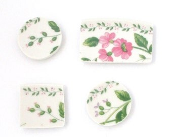 Broken China Magnet - Upcycled - Recycled Plate - English Garden Flowers - Set of four