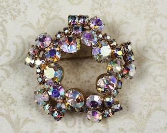 Vintage 1950s Clear Aurora Borealis Rhinestone Golden Circle or Wreath Brooch