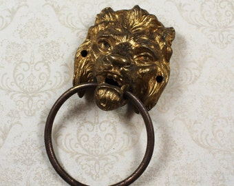 Vintage Golden Lion Head Brass Door Knocker
