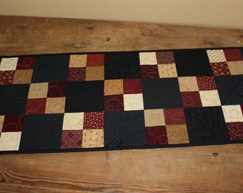 Americana squares quilted table runner