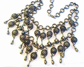 Beautiful Victorian Tribal Silver Vintage Festoon Necklace