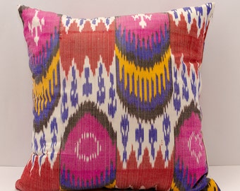 14x14 Ikat pink pillow cover, hot pink blue coral yellow white pillow cover cushion case, ikat pillows, ikats, cushions, decorative ikats