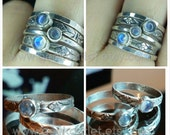 Moonstone Stacking Ring in Sterling Silver, Plain and Floral Band Designs, Build Your Own Set