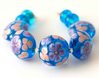 Aqua Floral Beads, Handmade Lampwork Glass Flower Bead Set