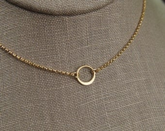 Tiny gold circle link and gold filled necklace, tiny circle necklace, infinity necklace, simple gold necklace, gold ring