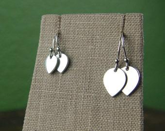 Small or large lotus petal charm earrings in sterling silver, teardrop earrings, silver leaf earrings, silver lotus, flower earrings