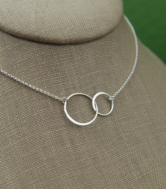 Large entwined rings necklace in sterling silver, two linked circles, interlocking circles, mother daughter sister gift